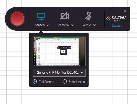 screenshot of Kaltura Personal Capture.