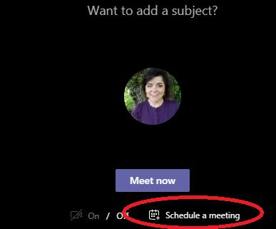 Screenshot showing Schedule a meeting