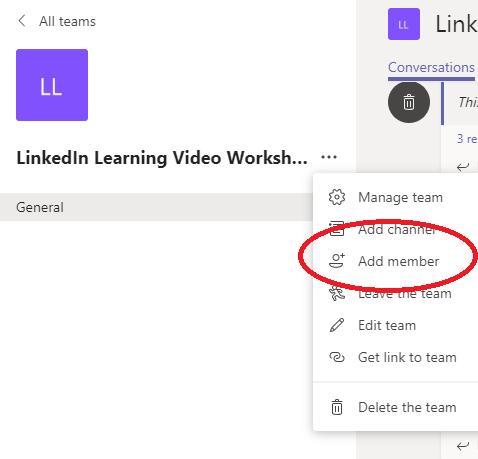 Screenshot showing Add member